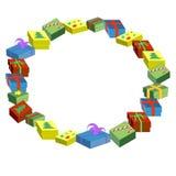 Geschenke im Kästen guten Rutsch ins Neue Jahr und in den frohen Weihnachten Lizenzfreies Stockbild