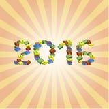 Geschenke im Kästen guten Rutsch ins Neue Jahr und in den frohen Weihnachten Lizenzfreies Stockfoto