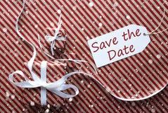 Geschenke mit Aufkleber, Schneeflocken, englische Text-Abwehr das Datum Stockfotografie