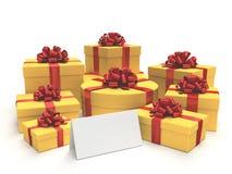 Geschenke mit einer unbelegten Karte Lizenzfreie Stockfotografie