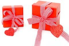 Geschenke mit Herzen Stockfoto