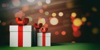 Geschenke mit roten Bändern auf bokeh Hintergrund, Kopienraum Abbildung 3D lizenzfreie abbildung