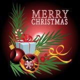 Geschenke mit Weihnachtshintergrund und Grußkartenvektor stock abbildung