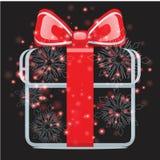 Geschenke mit Weihnachtshintergrund und Grußkartenvektor lizenzfreie abbildung