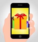 Geschenke online stellt Handy und Kasten dar Lizenzfreie Stockfotografie