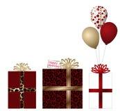 3 Geschenke und Ballone Stockfotos