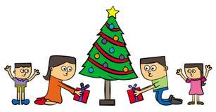 Geschenke unter dem Baum lizenzfreie abbildung
