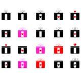 Geschenke - verschiedene Farbikonen Stockfotos