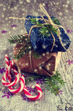 Geschenke am Weihnachtspaket Lizenzfreies Stockbild