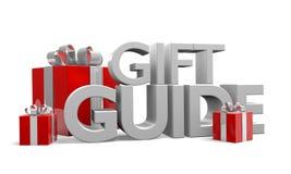 Geschenkführertext und drei rote Weihnachtsgeschenke eingewickelt in den silbernen Bändern Lizenzfreie Stockfotos