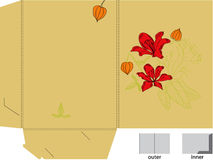 Geschenkfaltblatt mit gestempelschnitten (Blumen) Lizenzfreies Stockfoto
