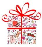 Geschenkfelsenmädchen lizenzfreie abbildung