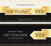 Geschenkgutschein Goldband mögen Pfeil auf einem eleganten Hintergrund Stockbild