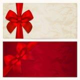 Geschenkgutschein-/Kuponschablone. Roter Bogen (Farbbänder) Stockbild