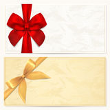 Geschenkgutschein-/Kuponschablone. Roter Bogen (Farbbänder) Stockbilder