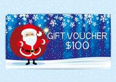 Geschenkgutschein mit Santa Claus Stockbild