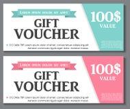 Geschenkgutschein-Schablone mit Beispieltext-Vektor Lizenzfreie Stockfotos