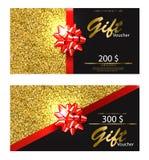 Geschenkgutschein-Vektor realistisch Goldene Funkelnkarte mit ausführlichen Illustrationen 3d des roten Bogens stock abbildung