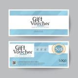 Geschenkgutscheindesignvektor-Schablonenplan für Visitenkartegeschenksatz blau Lizenzfreie Stockfotografie