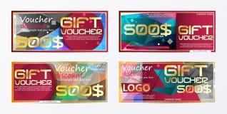 Geschenkgutscheingoldschablone färbt Zertifikat Niedrige Illustration für Anzeigen! setzen Sie ein Bild Ihres Produktes Stockbilder