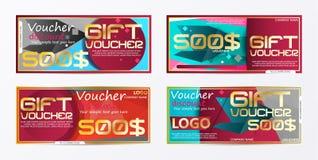 Geschenkgutscheingoldschablone färbt Zertifikat Niedrige Illustration für Anzeigen! setzen Sie ein Bild Ihres Produktes Lizenzfreie Stockfotos