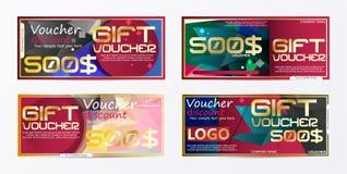Geschenkgutscheingoldschablone färbt Zertifikat Niedrige Illustration für Anzeigen! setzen Sie ein Bild Ihres Produktes Stockbild