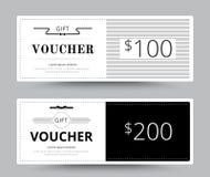 Geschenkgutscheinkarten-Schablonendesign für spezielle Zeit Kupon Temp Lizenzfreie Stockfotografie