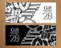 Geschenkgutscheinnahrungsmittelentwurfsschablone Rebecca 6 stock abbildung