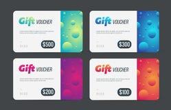 Geschenkgutscheinsatz Moderne Schablone mit futuristischem Muster Modische Rabattplastikkarte Vektormodell Stockfotografie