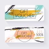 Geschenkgutscheinschablone mit Goldhintergrund, Gutschein Ba Stockfoto