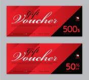 Geschenkgutscheinschablone, Verkaufsfahne, horizontale Gliederung, Rabattkarten, Titel, Website, roter Hintergrund lizenzfreie abbildung