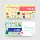Geschenkgutscheinschablonen Rabatt-Kupon-Zertifikat-Karte mit Einkaufstaschen und Mode-Elementen Verkaufsförderung, Fahne lizenzfreie abbildung