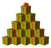 Geschenkkästen, die einen Weihnachtsbaum bilden lizenzfreie abbildung