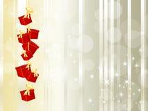 Geschenkkästen, die an einer Zeichenkette hängen Lizenzfreies Stockbild