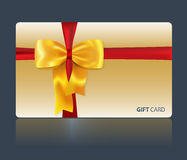 Geschenkkarte mit gelbem Bogen Stockbild