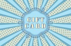 Geschenkkarte mit Strahlen. Lizenzfreies Stockfoto