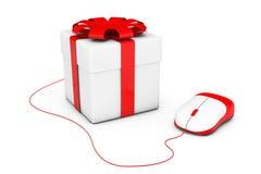 Geschenkkasten angeschlossen an eine Computermaus Lizenzfreie Stockfotos