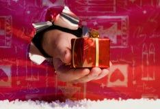 Geschenkkasten in der Hand. Lizenzfreies Stockfoto
