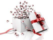 Geschenkkasten, der wenige Geschenkkästen ausstrahlt Stockfoto