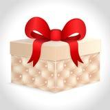 Geschenkkasten mit einem roten Bogen lizenzfreie abbildung