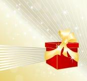 Geschenkkasten mit festlichem Hintergrund Stockfoto