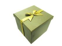 Geschenkkasten mit goldenem Farbband Stockfoto