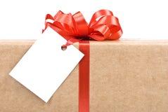 Geschenkkasten mit Marke Lizenzfreie Stockfotografie