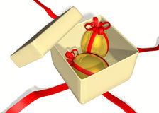 Geschenkkasten mit Ostereiern lizenzfreie abbildung