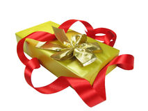 Geschenkkasten mit rotem Farbband. Stockfotografie