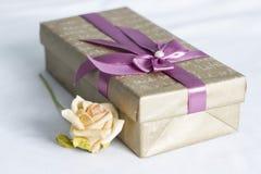 Geschenkkasten mit stieg Lizenzfreie Stockfotografie