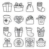 Geschenkkasten-Taschensocken lineart Stockbild