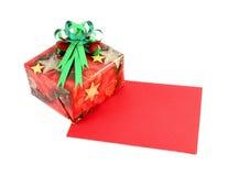 Geschenkkasten- und Geschenkkarte mit Farbband beugen Lizenzfreie Stockfotografie