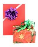 Geschenkkasten- und Geschenkkarte mit ribbin beugen Lizenzfreies Stockbild