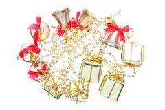 Geschenkkasten und -glocke Stockbild